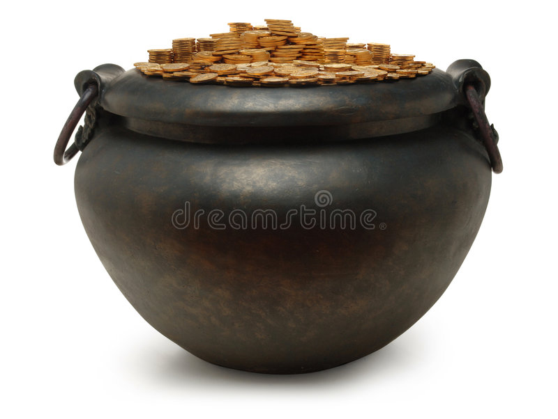 Iron kettle filled with gold. Coins on white