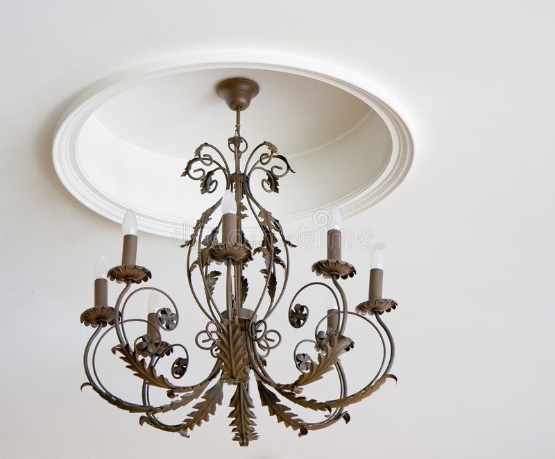 Iron luster on a ceiling stock photo