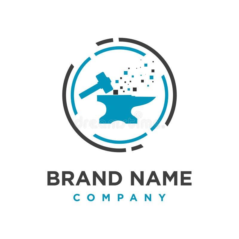 Iron maker logo design technology. Your company royalty free illustration