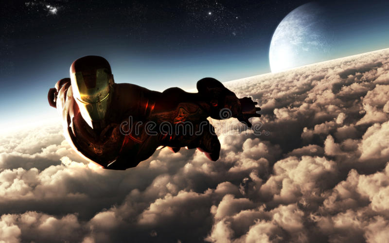 Iron Man Character Flying. Illustration of the Iron Man character flying on top of the clouds with moon and stars visible on the high altitude background
