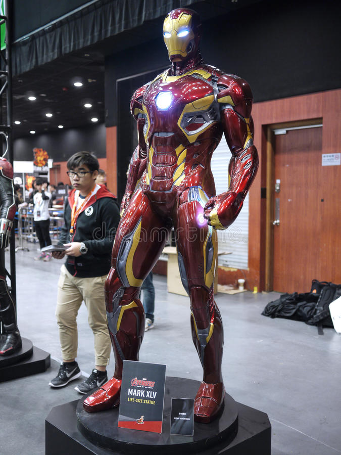 Iron Man mark 45 in Toy Soul 2015. Iron Man mark 45 display in TOY SOUL 2015 in Hong Kong royalty free stock photo