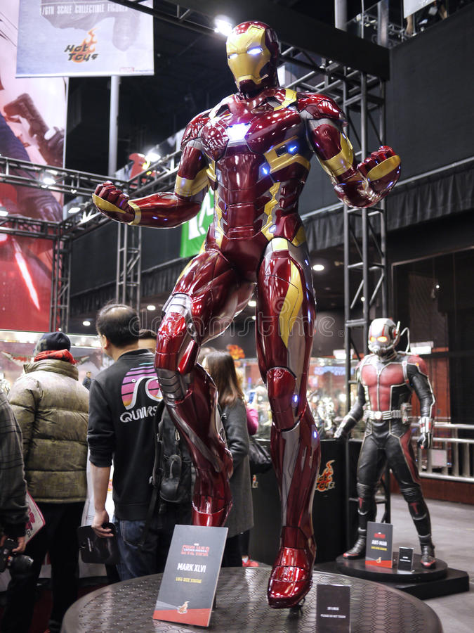 Iron Man mark 46 in Toy Soul 2015. Iron Man mark 46 display in TOY SOUL 2015 in Hong Kong royalty free stock photos