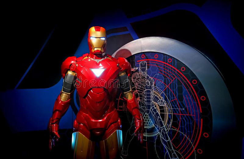 Iron man full size figure at madame tussauds in hong kong royalty free stock image