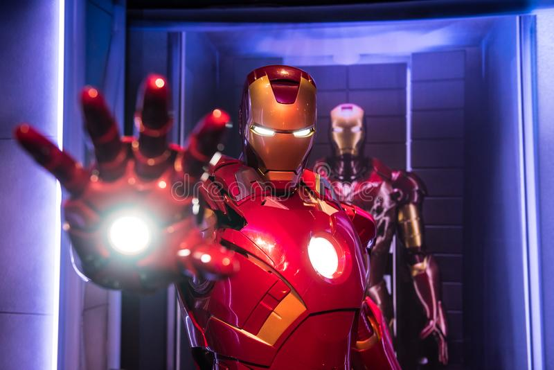 Iron Man, wax sculpture, Madame Tussaud. Iron Man red costume, a Marvel superhero character, Tony Stark, played by Robert Downey Jr. Wax sculpture in museum of stock image