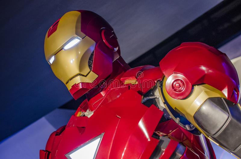 Iron man. Robert downey jr in the famous wax museum Madame tussauds london, england royalty free stock images