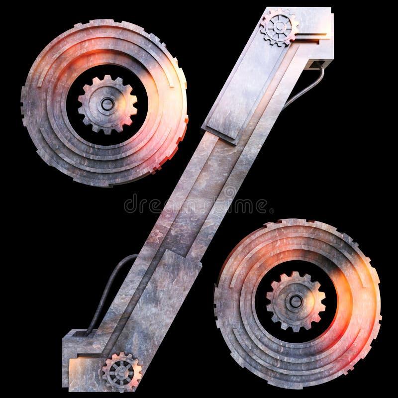 Iron mechanical symbol percent vector illustration