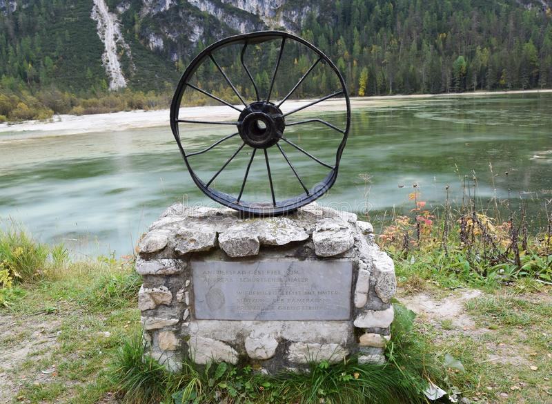 Iron memorial sculpture in Cadore, Dolomiti mountains, Italy stock photo