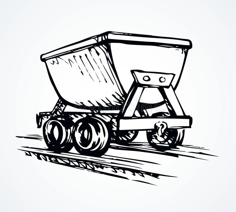 Iron miner`s trolley. Vector drawing royalty free illustration