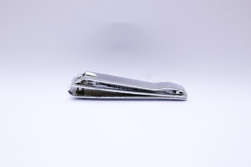 Side of nail clippers that off  on white background stock photos
