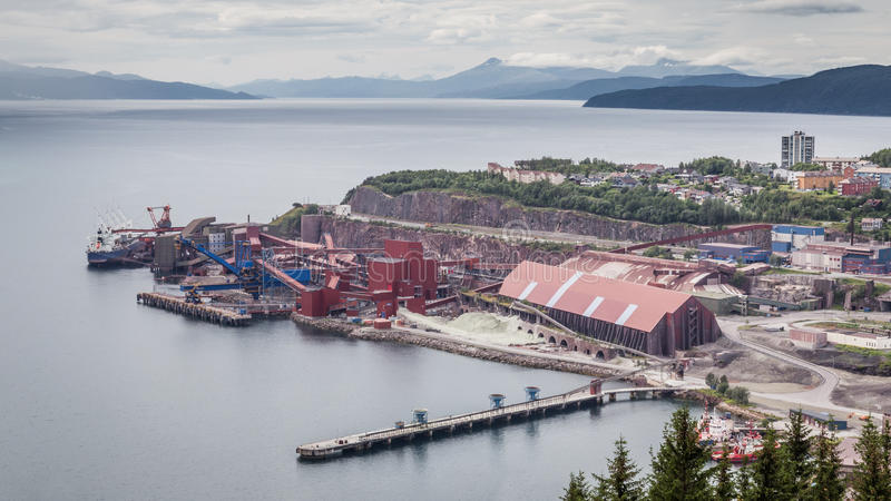 Iron Ore Mine Factory Plant in Narvik Norway. Landscape with the Iron Ore Mine Factory Plant in Narvik Norway stock image
