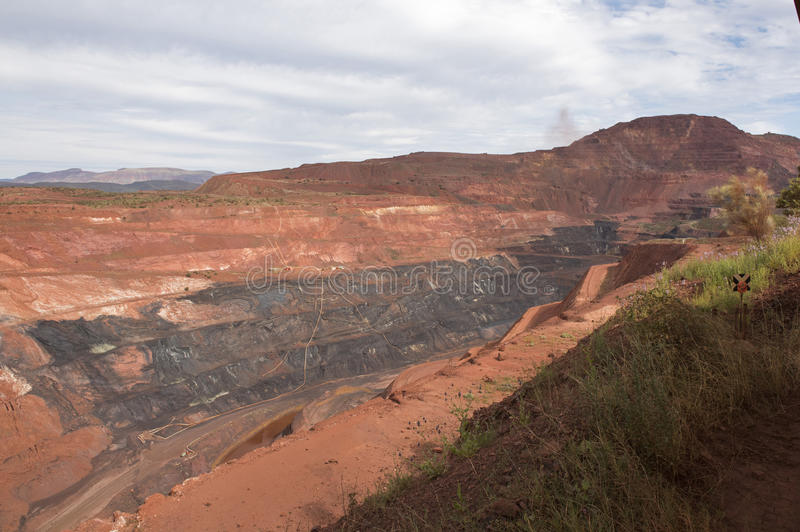 Iron ore mine. Hamersley ranges Western Australia, Tom Price Iron ore mine royalty free stock photo