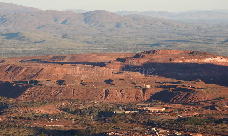 Iron ore mine. Hamersley ranges Western Australia views from Mt Nameless and Tom Price Iron ore mine royalty free stock images