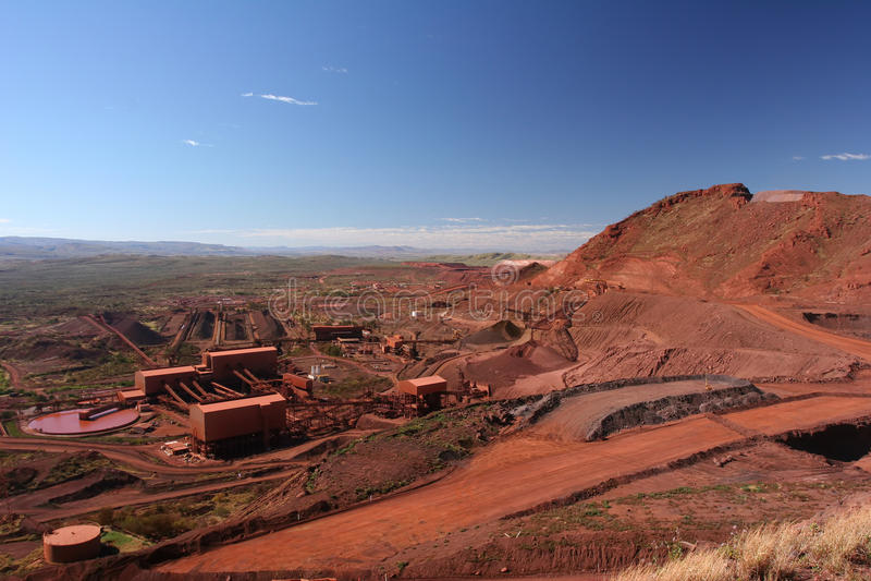 Iron ore mining operations Pilbara region Western Australia stock image