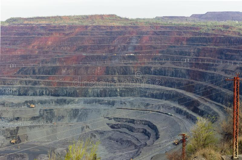 Iron ore open pit mining, quarry. Ukraine. Kryvyi Rih royalty free stock image