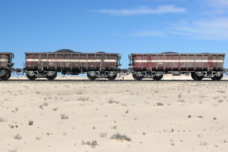 Iron ore train in the Sahara, Mauritania royalty free stock photo