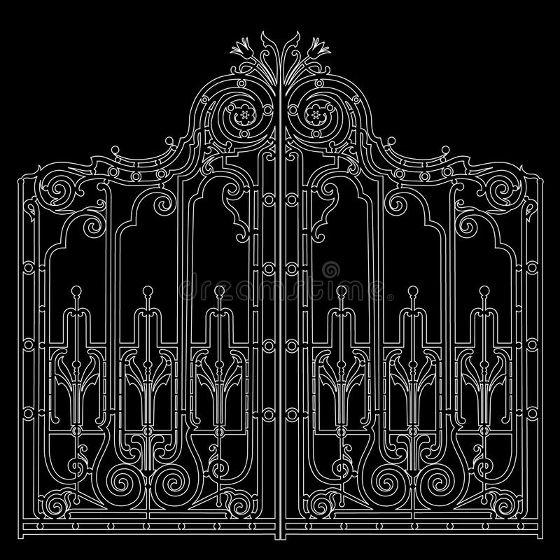 Iron ornamental gate. Gate with forged ornaments on a black background. laser cutting stock illustration