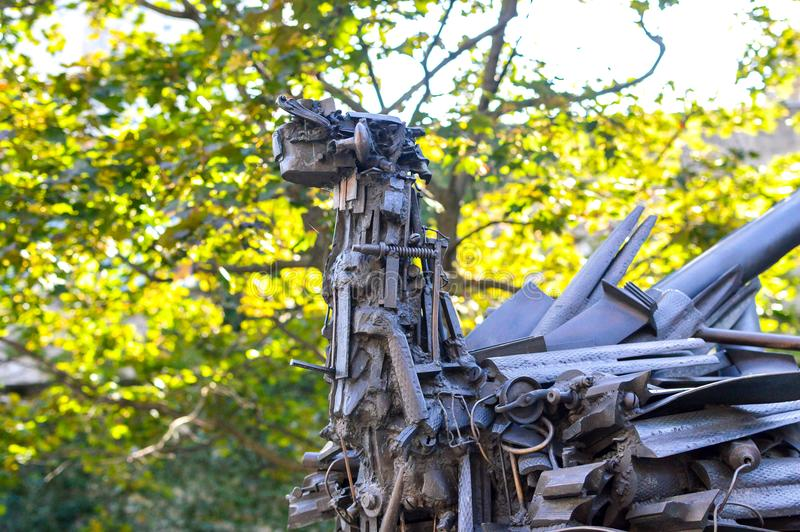 Iron Ostrich Sculpture Outside the Montreal Museum of Fine Arts. Montreal. Canada - 1 October, 2017: Iron Ostrich Sculpture Outside the Montreal Museum of Fine stock photo