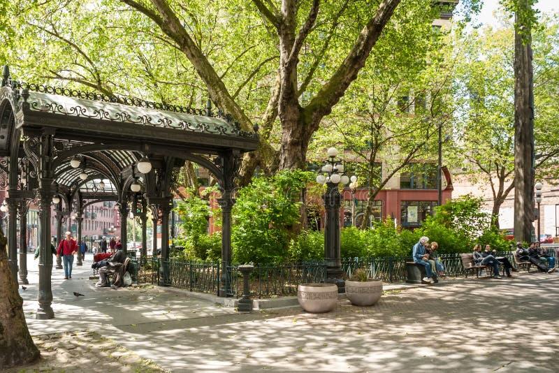 Iron Pergola on Pioneer Square, Seattle, WA royalty free stock images