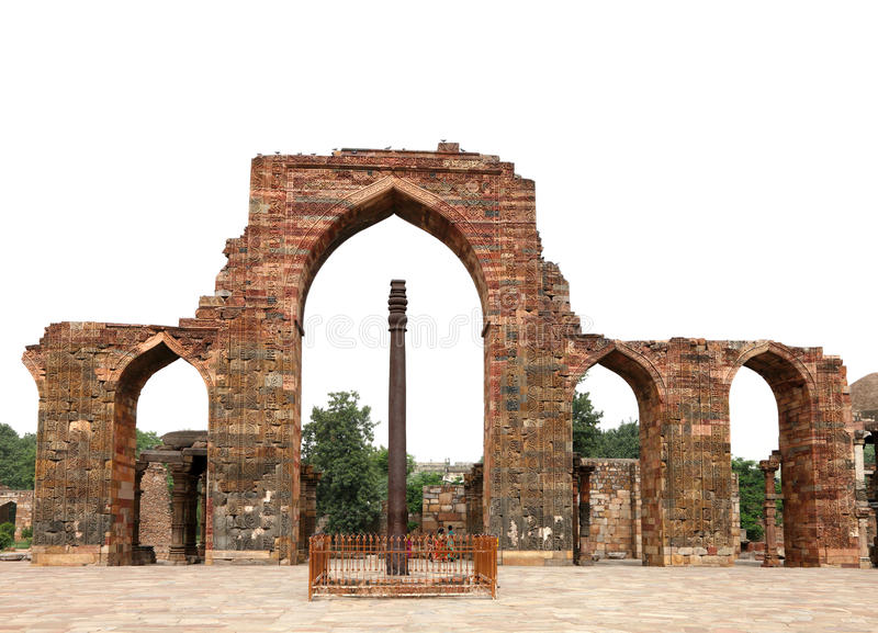 Iron Pillar and arches with intricate design in Qutub Minar Complex. Qutub Minar is the tallest brick minar in the world stock photography