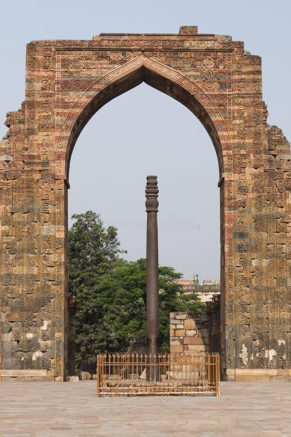 Iron pillar inside Qutub complex in Mehrauli. Iron pillar inside Qutub complex in Mehrauli, Delhi, India, Asia stock image