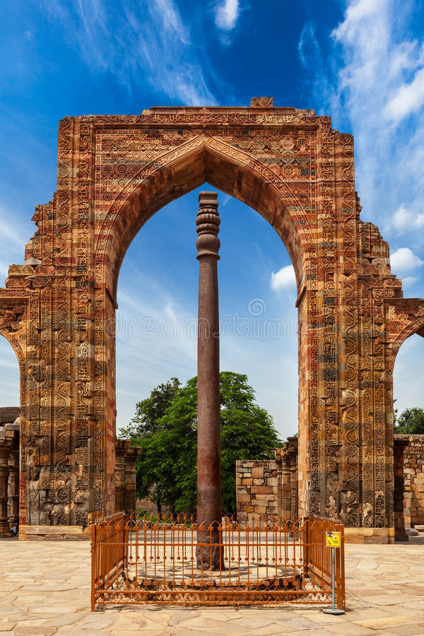 Iron pillar in Qutub complex. Metallurgical curiosity. Delhi, India stock photos