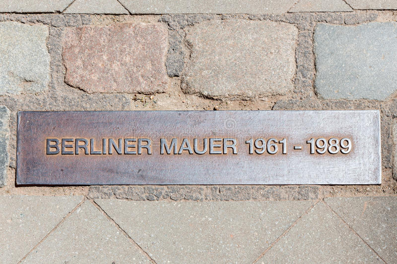 Iron plaque Berliner wall near checkpoint Charlie stock images