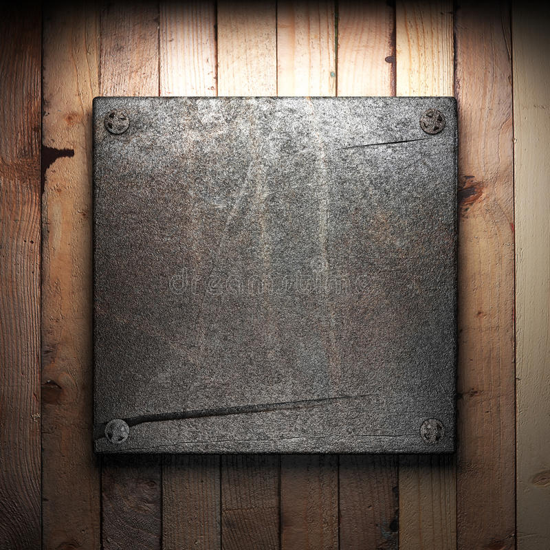 Download Iron plate on wall stock illustration. Image of brown - 26821526