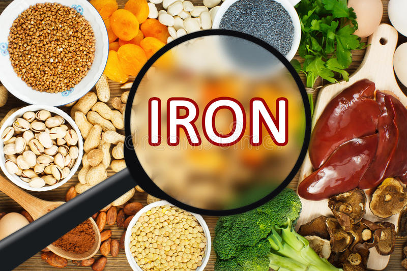 Iron rich foods. Collection iron rich foods as liver, buckwheat, eggs, parsley leaves, dried apricots, cocoa, lentil, bean, blue poppy seed, broccoli, dried stock images