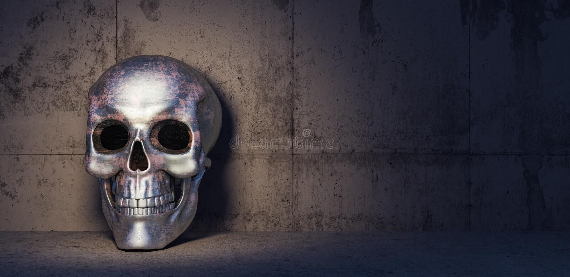 Iron skull in dark concrete room 3d render vector illustration
