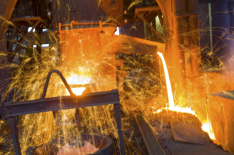 Iron and steel industry. In a factory stock image