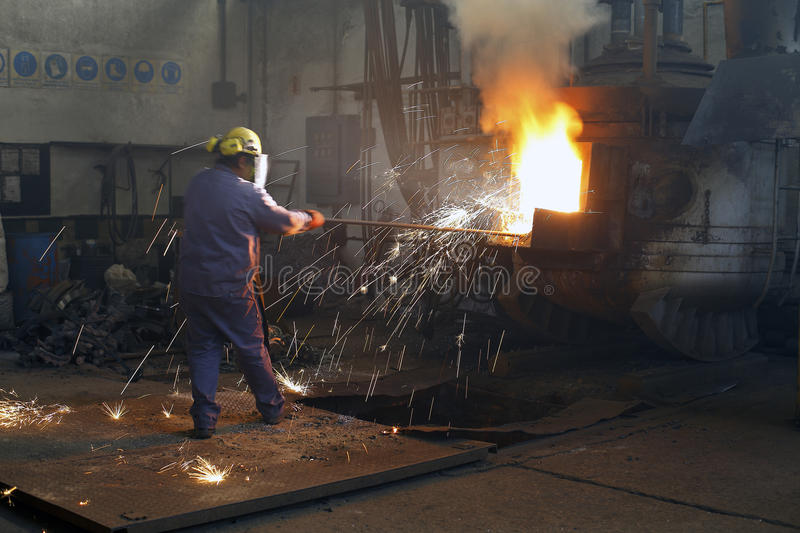 Iron and steel industry. Furnace stock photo