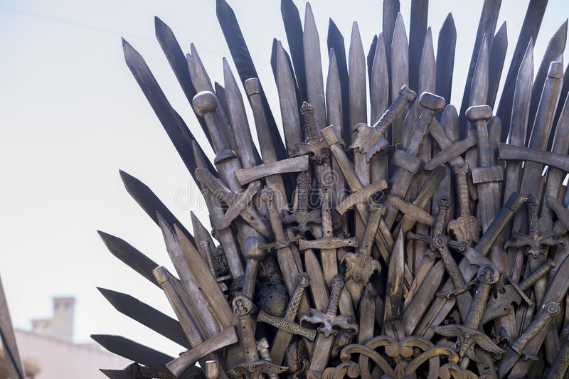 Iron throne made with swords, fantasy scene or stage. Recreation. Of a medieval seat stock photo