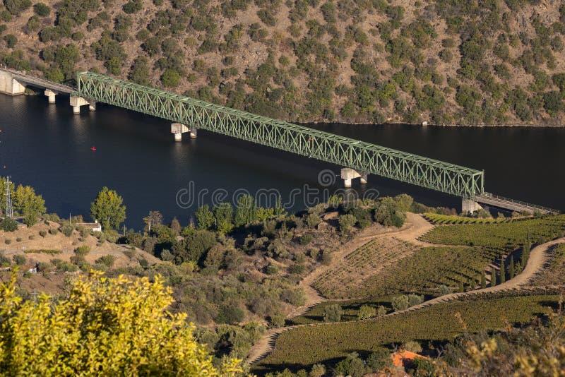 Iron Train Bridge from Sao Joao da Pesqueira, Vila Real. Iron Train Bridge from Sao Joao da Pesqueira, Vila Real, Portugal stock images