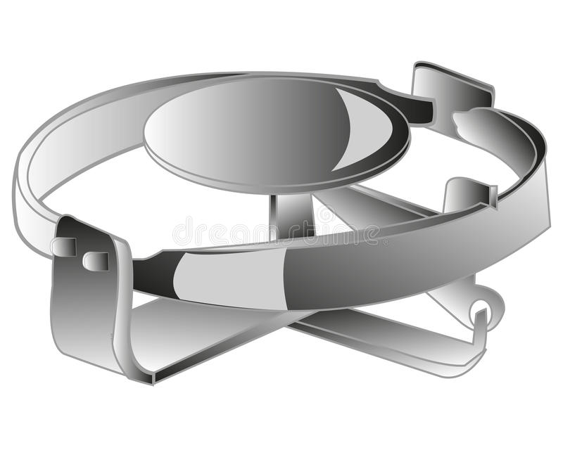 Iron trap watchful. Supplied metallic trap on white background is insulated stock illustration
