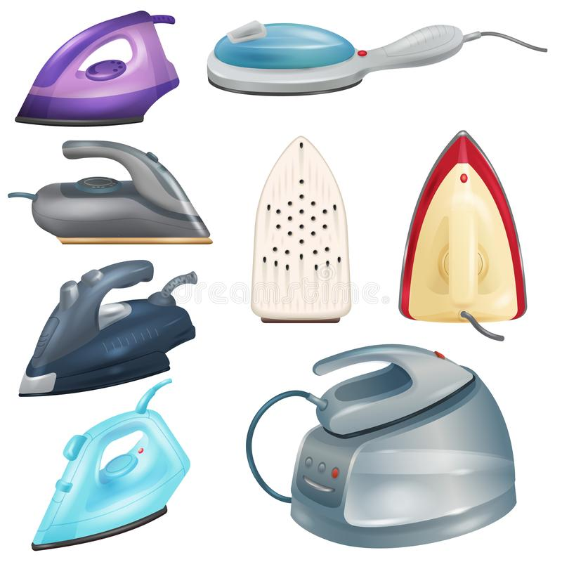 Iron vector ironing electric household appliance of laundry housework 3d realistic illustration irony housekeeping set vector illustration