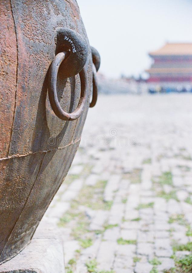 Iron water vat for fire control. As i said, many water vat for fire control in Forbidden City. this is one of them, a very normal one, without any further royalty free stock photo