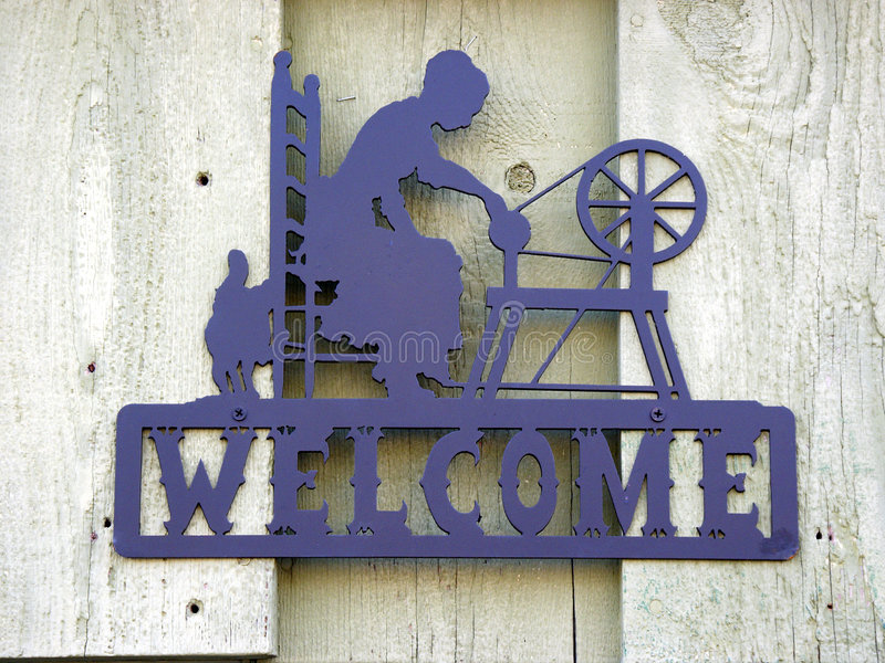 Download Iron Welcome stock image. Image of sign, fashioned, woman - 196677