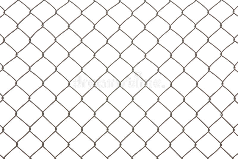 Iron wire fence isolated on a white stock photo