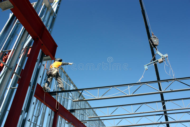 Download Iron Worker Setting Bar Joist Stock Photo - Image: 92563050