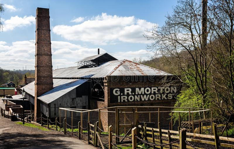 Iron works building in Blists Hill Victorian Town in Ironbridge, Shropshire, UK. On 10 April 2019 stock image