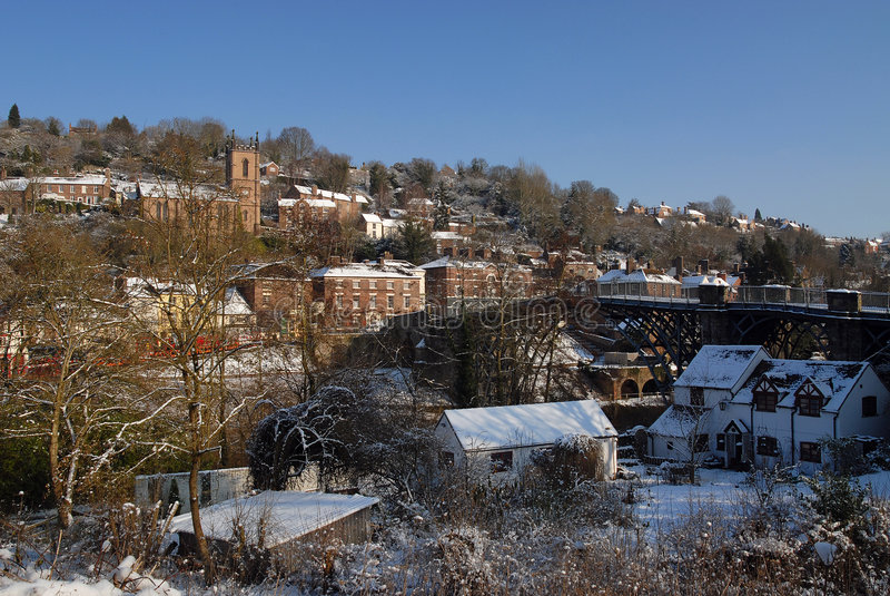 Ironbridge - de Beelden van de Winter stock fotografie