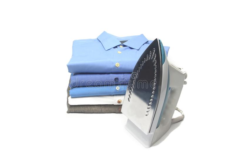 Ironed shirt. Shirt in the dry cleaning ironed, folded royalty free stock image