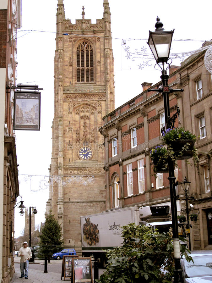 Irongate e catedral, derby. fotos de stock royalty free