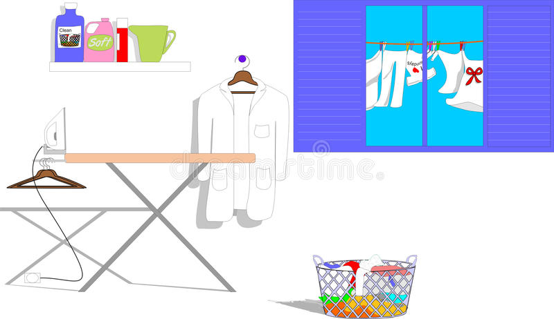 Ironing stock illustration