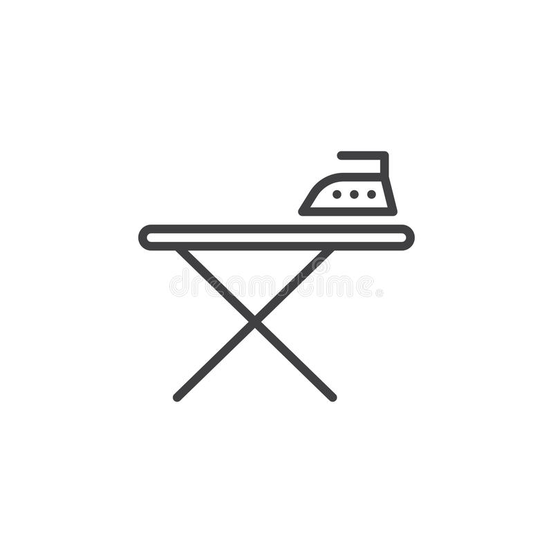 Ironing board and iron line icon, outline vector sign, linear pictogram isolated on white. vector illustration