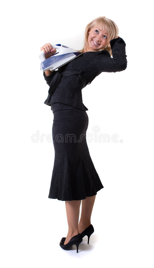 Ironing businesswoman royalty free stock photos