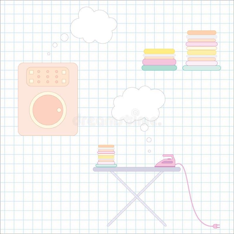 Ironing and washing stock illustration