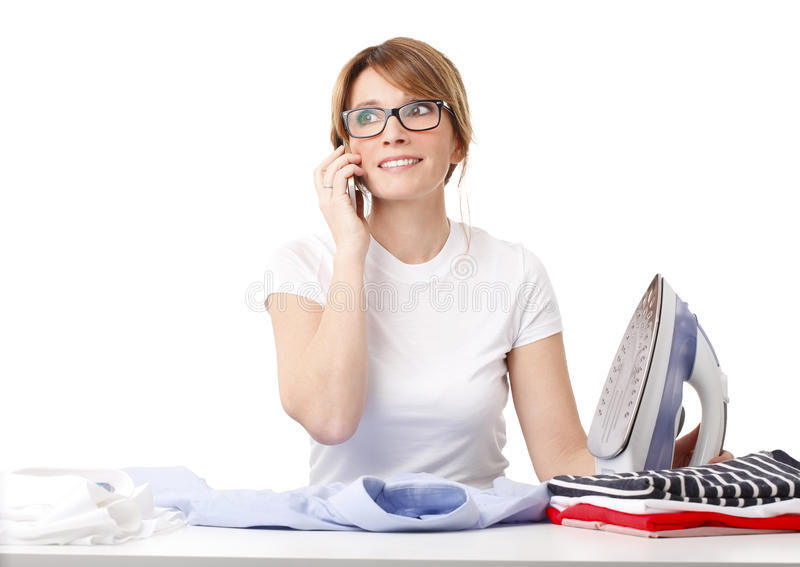 Ironing woman royalty free stock images