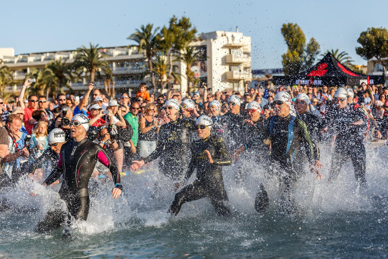 Ironman Mallorca half distance. Start to Alcudia's half triathlon. With about 4000 athletes this year's Thomas Cook Ironman 70.3 on the 9th May 2015 was the stock photography