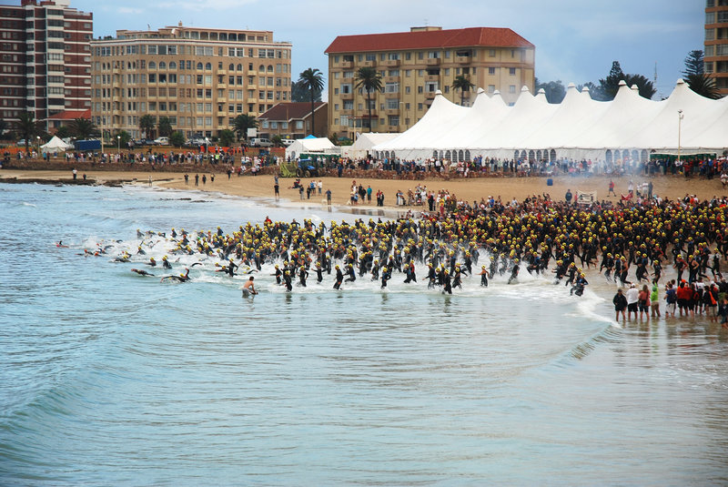 Ironman South Africa 2008. All triathletes at the swimming start of the Specsavers Ironman in Port Elizabeth, at Nelson Mandela Bay, South Africa, 13.04.2008 stock image